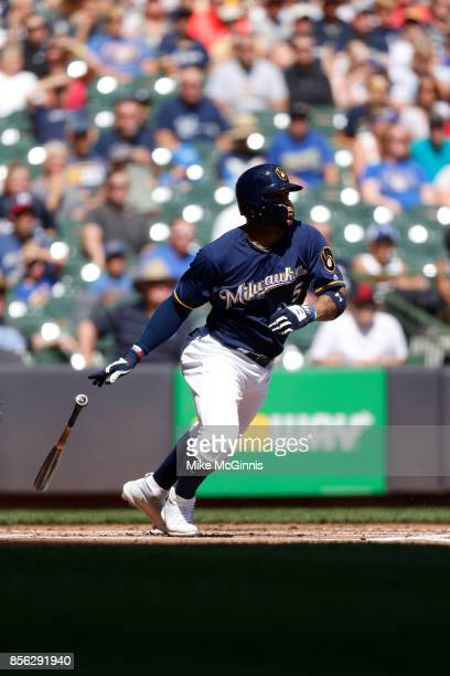 Jonathan Villar of the Milwaukee Brewers makes some contact at the plate during the game against the Washington Nationals at Miller Park on September...