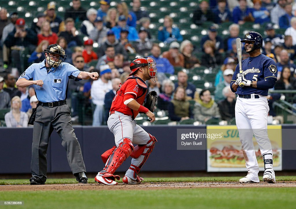 Jonathan Villar #5 of the Milwaukee Brewers reacts after being called out on strikes by umpire D.J. Reyburn in the second inning against the Los Angeles Angels of Anaheim at Miller Park on May 4, 2016 in Milwaukee, Wisconsin.