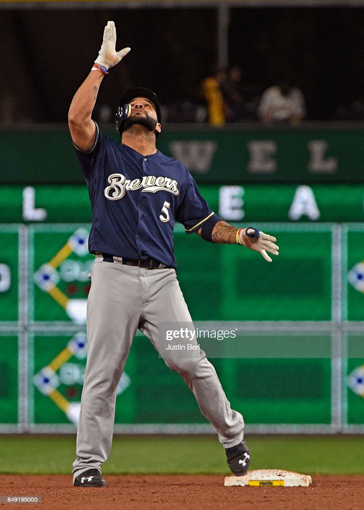 Jonathan Villar #5 of the Milwaukee Brewers reacts after hitting a double to right field in the sixth inning during the game against the Pittsburgh Pirates at PNC Park on September 18, 2017 in Pittsburgh, Pennsylvania.