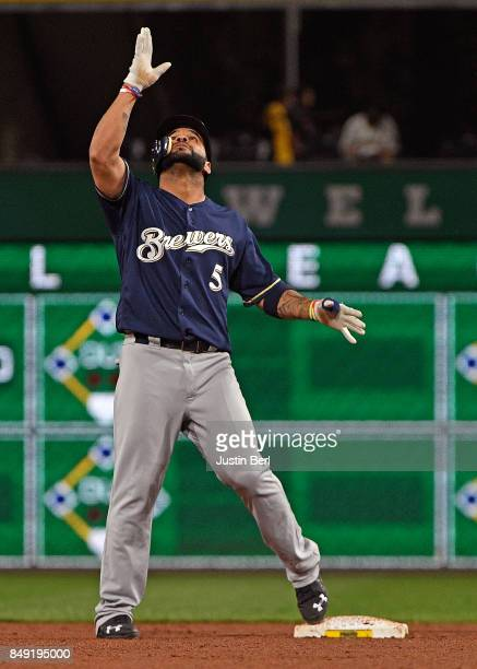 Jonathan Villar of the Milwaukee Brewers reacts after hitting a double to right field in the sixth inning during the game against the Pittsburgh...