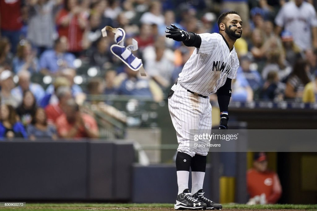Jonathan Villar #5 of the Milwaukee Brewers reacts to a strike out during the eighth inning against the Cincinnati Reds at Miller Park on August 12, 2017 in Milwaukee, Wisconsin.