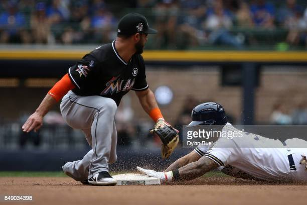 Jonathan Villar of the Milwaukee Brewers slides into second base for a double past Mike Aviles of the Miami Marlins in the eighth inning at Miller...