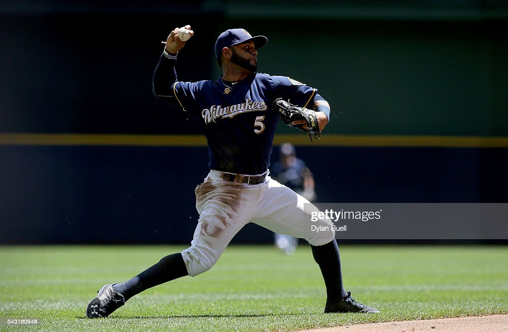 Jonathan Villar #5 of the Milwaukee Brewers throws to first base in the second inning against the Washington Nationals at Miller Park on June 26, 2016 in Milwaukee, Wisconsin.