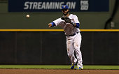 Jonathan Villar of the Milwaukee Brewers throws to first base in the fifth inning against the Chicago Cubs at Miller Park on July 22 2016 in...