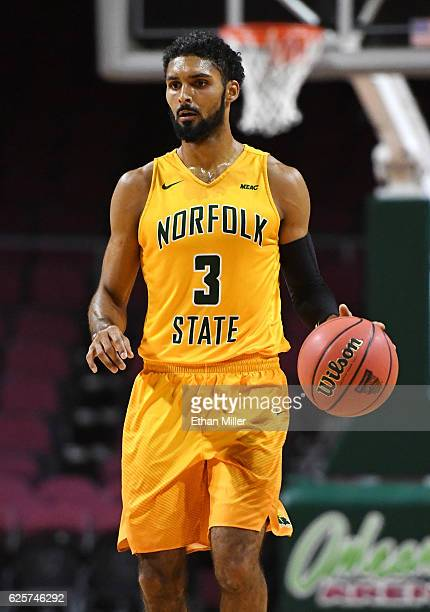Jonathan Wade of the Norfolk State Spartans brings the ball up the court against the Bucknell Bison during the 2016 Continental Tire Las Vegas...