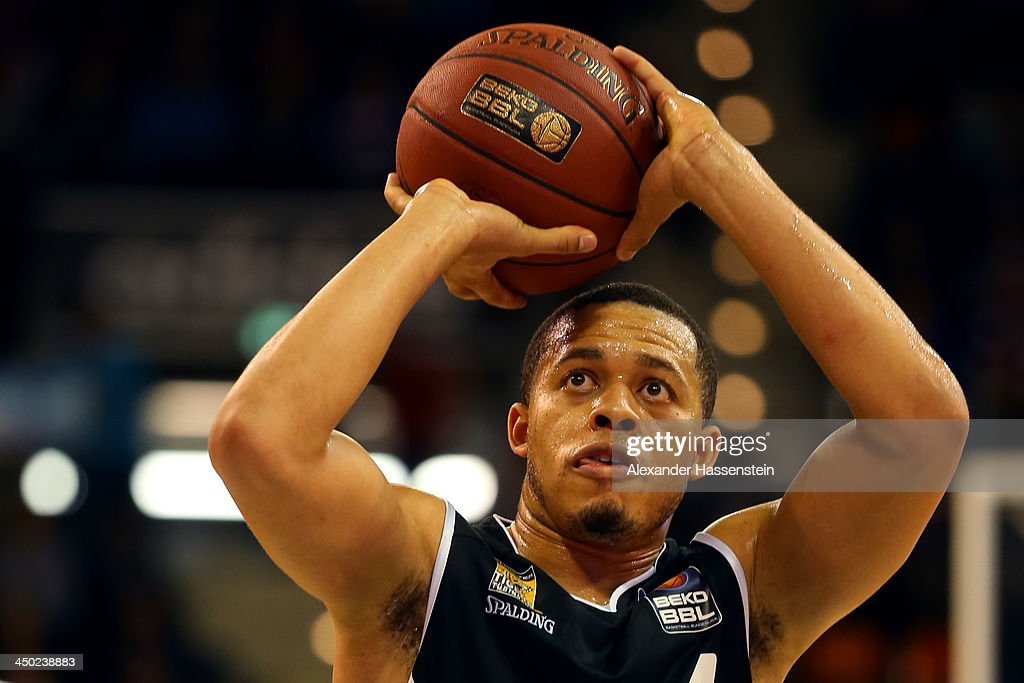 <a gi-track='captionPersonalityLinkClicked' href=/galleries/search?phrase=Jonathan+Wallace+-+Basketball+Player&family=editorial&specificpeople=730367 ng-click='$event.stopPropagation()'>Jonathan Wallace</a> of Tuebingen during the Beko Basketball Bundesliga match between FC Bayern Muenchen and WALTER Tigers Tuebingen at Audi-Dome on November 17, 2013 in Munich, Germany.