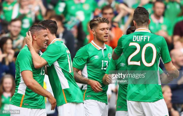 Jonathan Walters of Republic of Ireland celebrates scoring the opening goal with team mates during the International Friendly match between Republic...