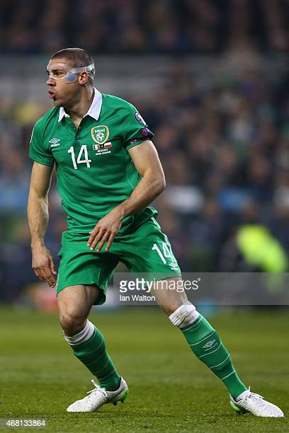 Jonathan Walters of Republic of Ireland in action during the Euro 2016 qualifying football match between Republic of Ireland and Polandat Aviva...