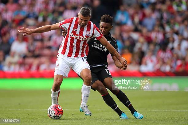 Jonathan Walters of Stoke City and Joe Gomez of Liverpool during the Barclays Premier League match between Stoke City and Liverpool at the Britannia...