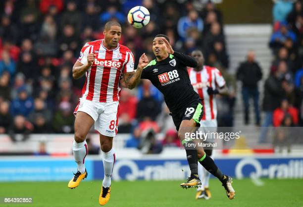 Jonathan Walters of Stoke City and Junior Stanislas of AFC Bournemouth during the Premier League match between Stoke City and AFC Bournemouth at...