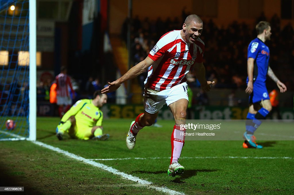 Jonathan Walters of Stoke City celebrates after scoring their fourth goal during the FA Cup fourth round match between Rochdale and Stoke City at...