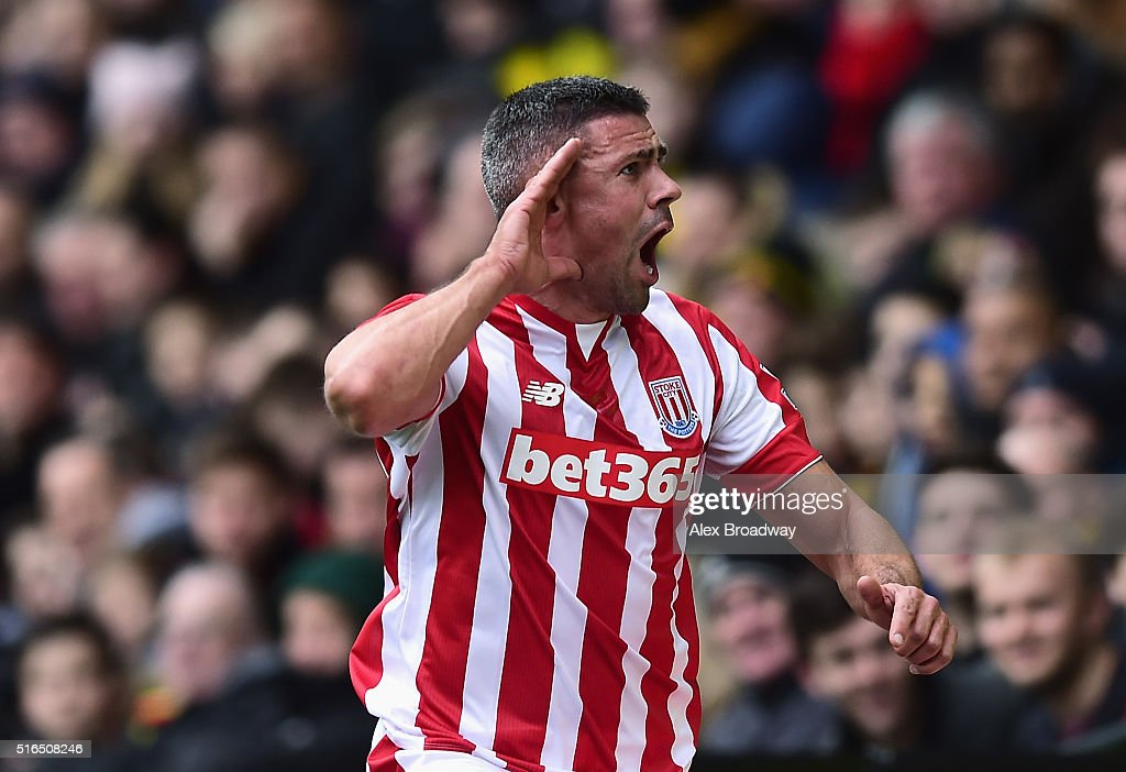 Jonathan Walters of Stoke City celebrates scoring his team's first goal during the Barclays Premier League match between Watford and Stoke City at Vicarage Road on March 19, 2016 in Watford, United Kingdom.