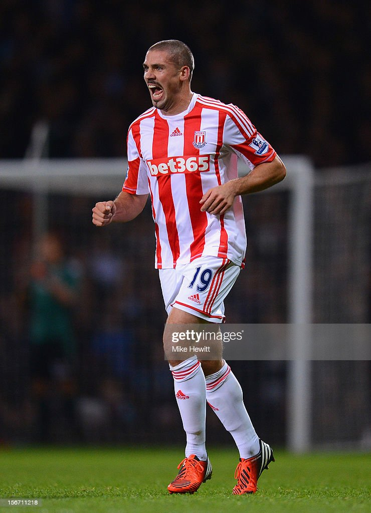 Jonathan Walters of Stoke City celebrates the opening goal during the Barclays Premier League match between West Ham United and Stoke City at the Boleyn Ground on November 19, 2012 in London, England.