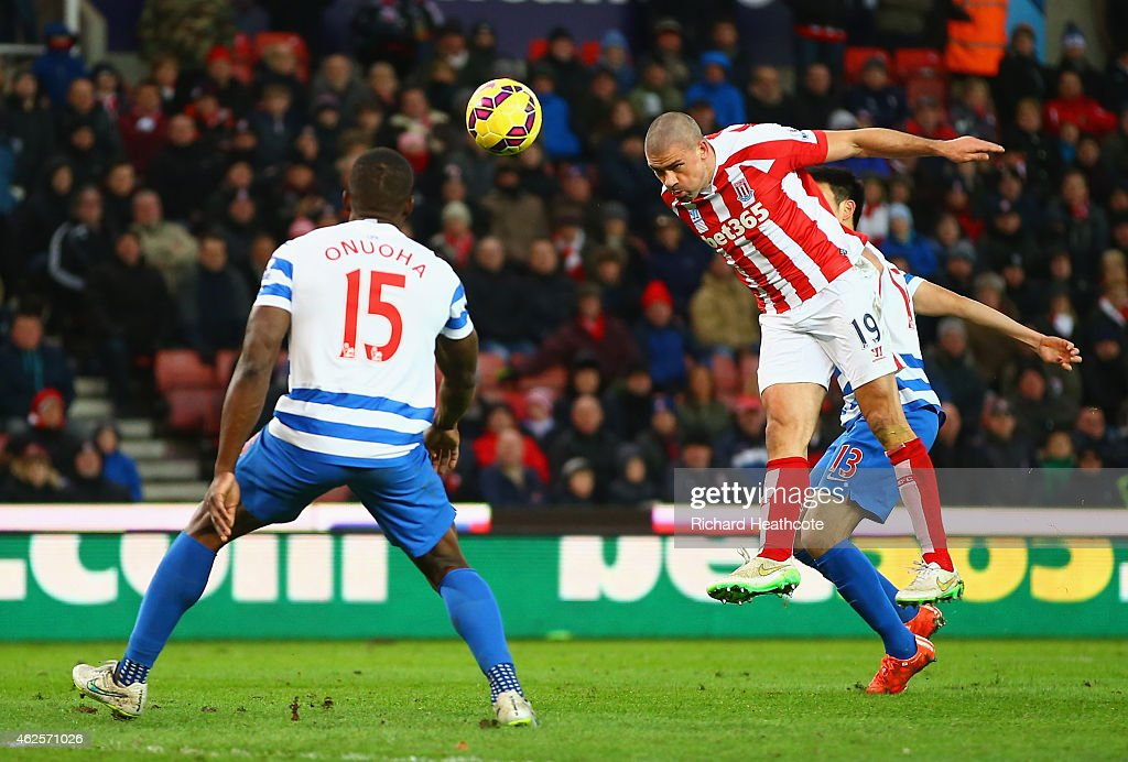 <a gi-track='captionPersonalityLinkClicked' href=/galleries/search?phrase=Jonathan+Walters&family=editorial&specificpeople=3389578 ng-click='$event.stopPropagation()'>Jonathan Walters</a> of Stoke City heads in their third goal for a hatrick during the Barclays Premier League match between Stoke City and Queens Park Rangers at Britannia Stadium on January 31, 2015 in Stoke on Trent, England.