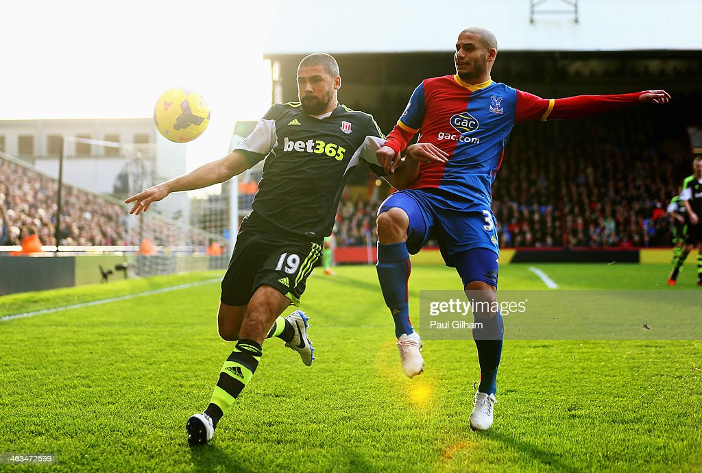 <a gi-track='captionPersonalityLinkClicked' href=/galleries/search?phrase=Jonathan+Walters&family=editorial&specificpeople=3389578 ng-click='$event.stopPropagation()'>Jonathan Walters</a> of Stoke City is challenged by <a gi-track='captionPersonalityLinkClicked' href=/galleries/search?phrase=Adlene+Guedioura&family=editorial&specificpeople=6732967 ng-click='$event.stopPropagation()'>Adlene Guedioura</a> of Crystal Palace during the Barclays Premier League match between Crystal Palace and Stoke City at Selhurst Park on January 18, 2014 in London, England.