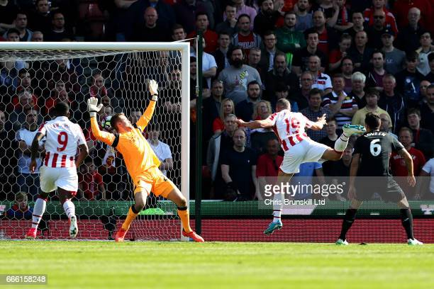 Jonathan Walters of Stoke City scores the opening goal during the Premier League match between Stoke City and Liverpool at Bet365 Stadium on April 8...