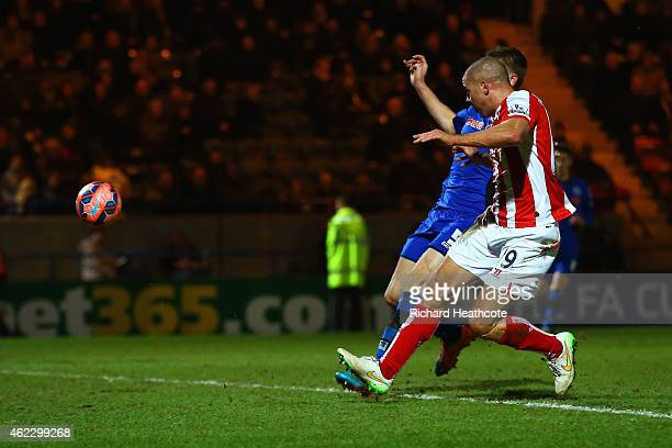 Jonathan Walters of Stoke City scores their fourth goal during the FA Cup fourth round match between Rochdale and Stoke City at Spotland Stadium on...