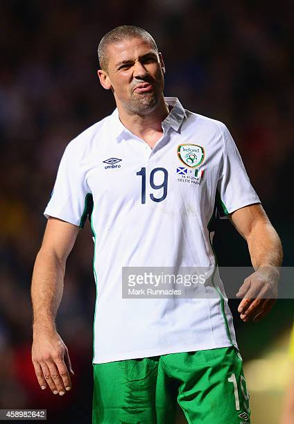 Jonathan Walters of the Republic of Ireland reacts during the EURO 2016 Group D Qualifier match between Scotland and Republic of Ireland at Celtic...