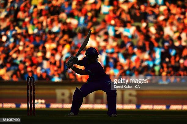 Jonathan Wells of the Hobart Hurricanes bats during the Big Bash League match between the Adelaide Strikers and the Hobart Hurricanes at Adelaide...