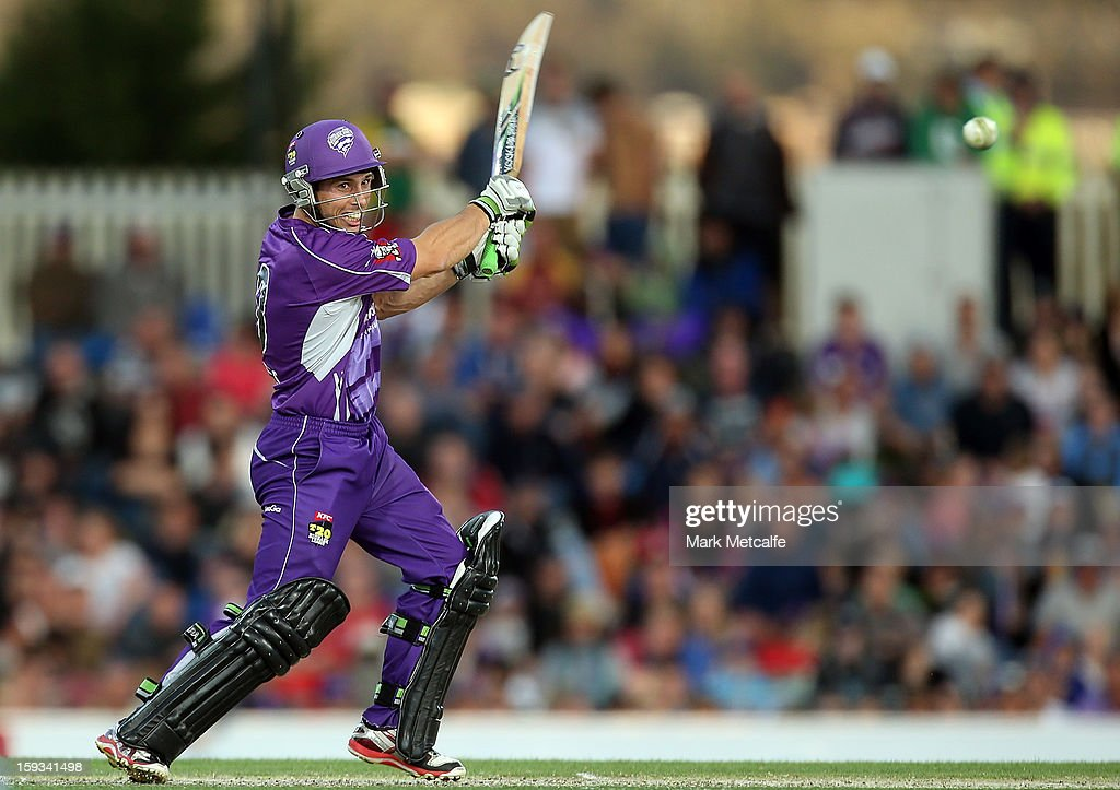 Jonathan Wells of the Hurricanes bats during the Big Bash League match between the Hobart Hurricanes and the Brisbane Heat at Blundstone Arena on January 12, 2013 in Hobart, Australia.