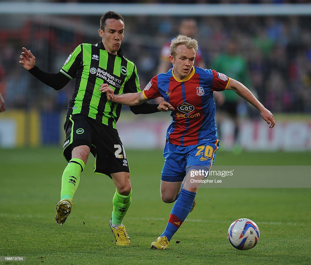 Jonathan Williams of Palace battles with David Lopez of Brighton during the npower Championship Play Off Semi Final, First Leg at Selhurst Park on May 10, 2013 in London, England.