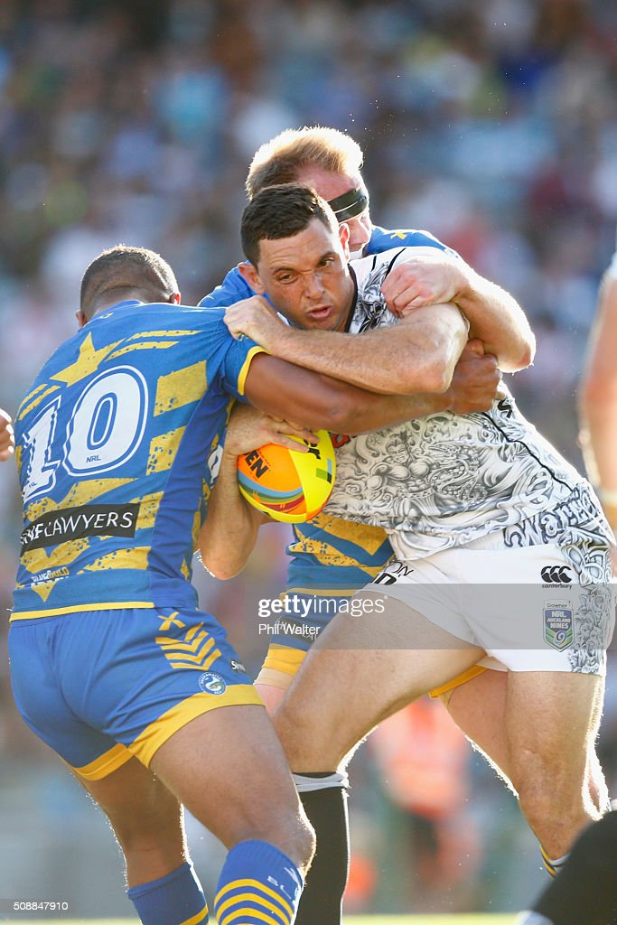 Jonathan Wright of the Warriors is tackled during the final match between the New Zealand Warriors and the Parramatta Eels at the 2016 NRL Auckland Nines at Eden Park on February 7, 2016 in Auckland, New Zealand.