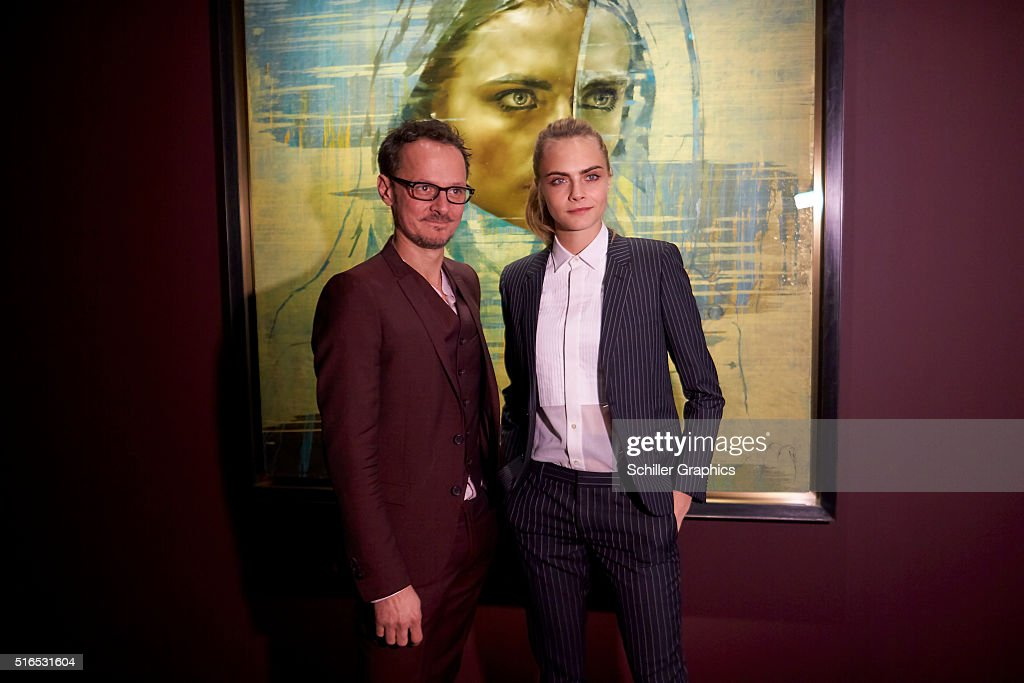 Jonathan Yeo and Cara Delevingne attend the 'Jonathan Yeo Portraits' exhibition opening at the Museum of National History at Frederiksborg Castle on March 19, 2016 in Hillerod, Denmark.