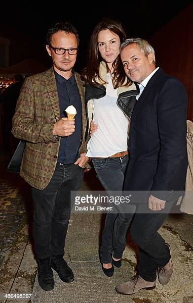 Jonathan Yeo Fran Hickman and Nellee Hooper attend a private view of 'Julian Schnabel Every Angel Has A Dark Side' in aid of Chickenshed at The Dairy...