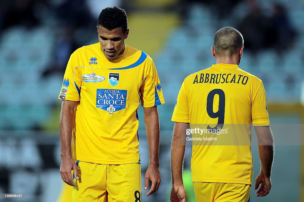 Jonathas and Elvis Abbruscato of Pescara shows his dejection during the Serie A match between AC Siena and Pescara at Stadio Artemio Franchi on November 18, 2012 in Siena, Italy.