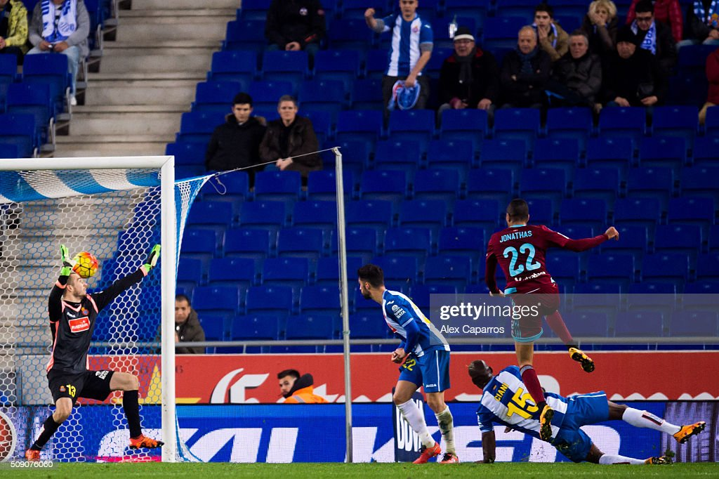 Jonathas Cristian de Jesus of Real Sociedad de Futbol scores his team's fifth goal during the La Liga match between RCD Espanyol and Real Sociedad de Futbol at Cornella-El Prat Stadium on February 8, 2016 in Barcelona, Spain.