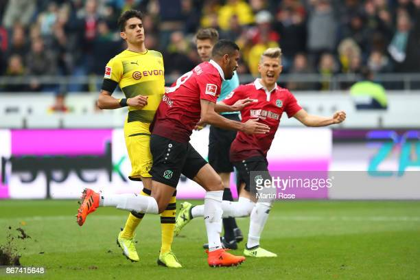 Jonathas of Hannover celebrates after he scored a penalty goal to make it 10 during the Bundesliga match between Hannover 96 and Borussia Dortmund at...