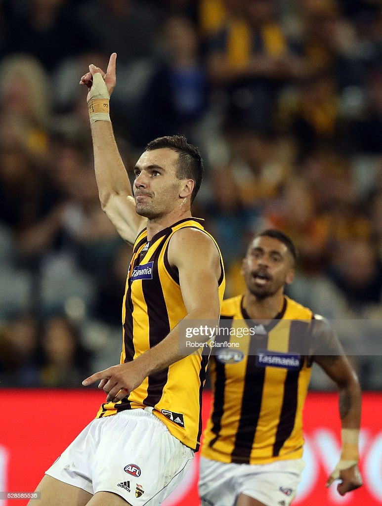 Jonathon Ceglar of the Hawks celebrates a goal during the round seven AFL match between the Richmond Tigers and the Hawthorn Hawks at Melbourne Cricket Ground on May 6, 2016 in Melbourne, Australia.