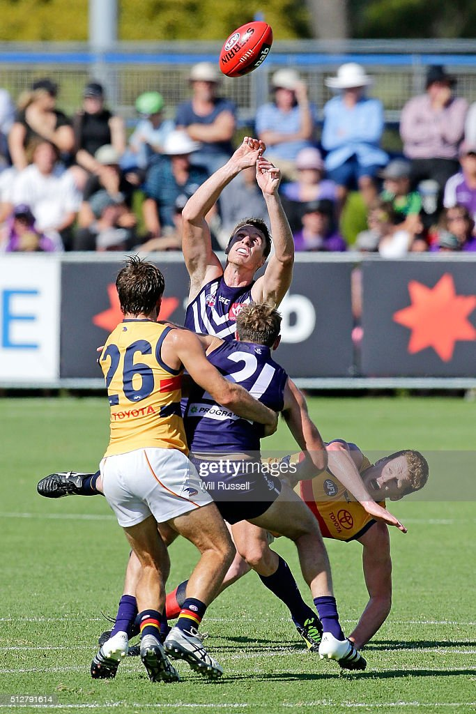 Jonathon Griffin of the Dockers in action during the 2016 AFL NAB Challenge match between the Fremantle Dockers and the Adelaide Crows at Sounness Park on February 28, 2016 in Perth, Australia.