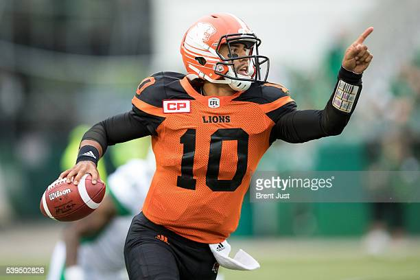 Jonathon Jennings of the BC Lions directs a receiver downfield in first half action of the preseason game between the BC Lions and Saskatchewan...