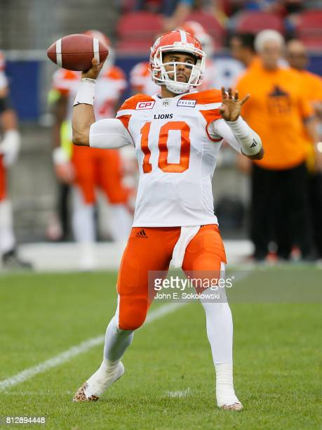 Jonathon Jennings of the BC Lions goes to throw a pass against the Toronto Argonauts during a CFL game at BMO field on June 30 2017 in Toronto...