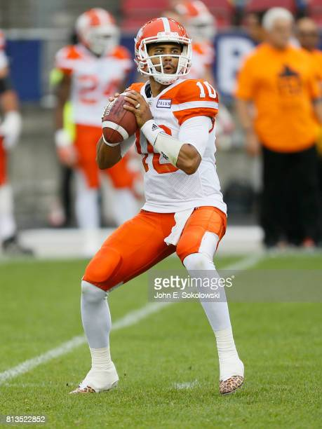 Jonathon Jennings of the BC Lions looks to pass against the Toronto Argonauts during a CFL game at BMO field on June 30 2017 in Toronto Ontario...