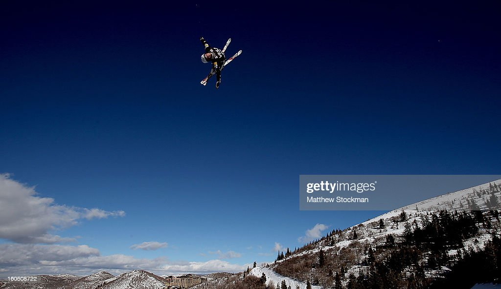 Jonathon Lillis #20 jumps while training for the Mens Aerials during the Visa Freestyle International at Deer Valley on February 1, 2013 in Park City, Utah.