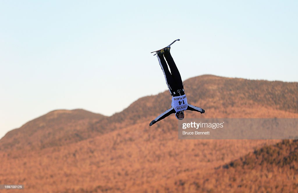 Jonathon Lillis #14 of the USA practices prior to the USANA Freestyle World Cup aerial competition at the Lake Placid Olympic Jumping Complex on January 18, 2013 in Lake Placid, New York.