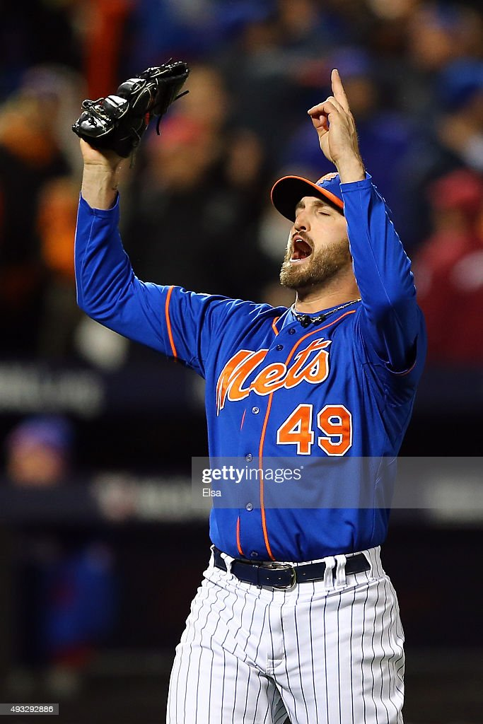 Jonathon Niese #49 of the New York Mets celebrates after striking out Anthony Rizzo #44 of the Chicago Cubs to close out the top of the sixth inning during game two of the 2015 MLB National League Championship Series at Citi Field on October 18, 2015 in the Flushing neighborhood of the Queens borough of New York City.