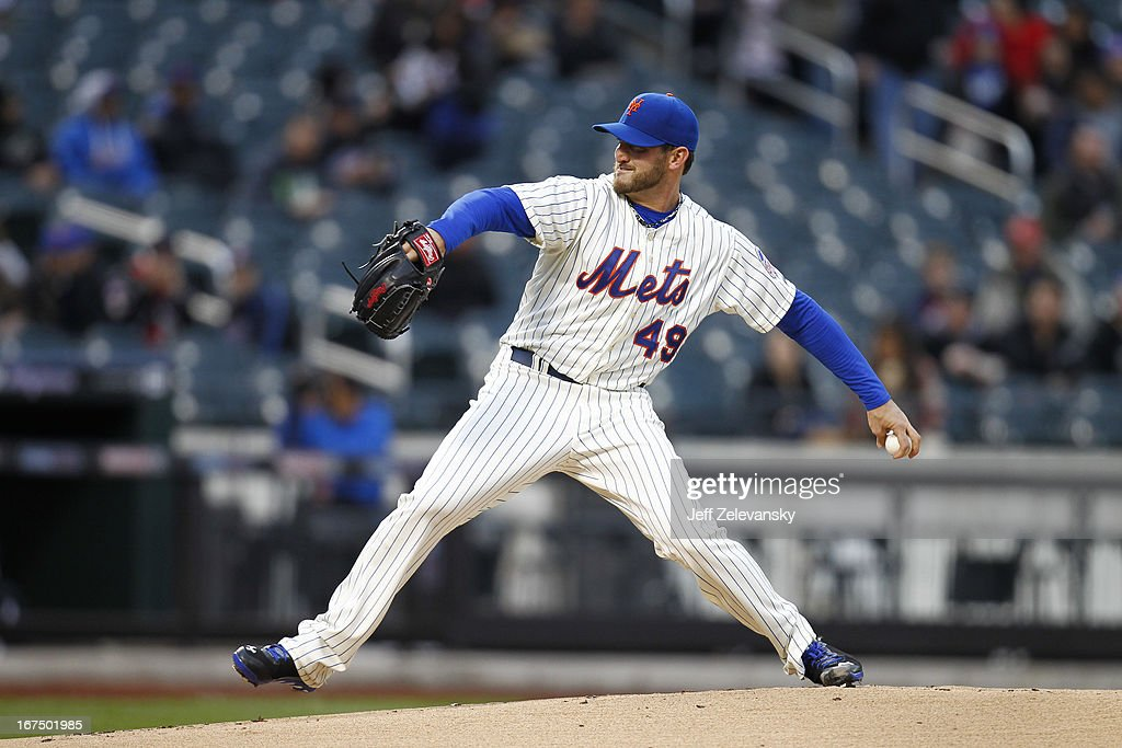 Jonathon Niese #49 of the New York Mets delivers against the Los Angeles Dodgers at Citi Field in the Flushing neighborhood of the Queens borough of New York City.
