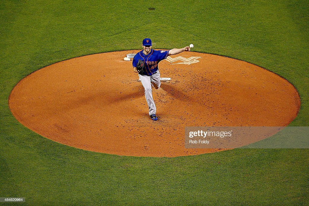 Jonathon Niese #49 of the New York Mets pitches during the first inning of the game against the Miami Marlins at Marlins Park on September 2, 2014 in Miami, Florida.