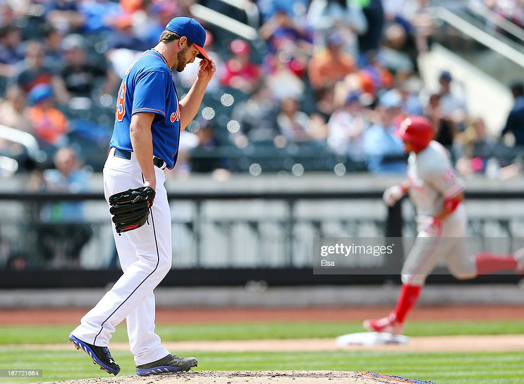 Jonathon Niese #49 of the New York Mets reacts after giving up a solo home run to Freddy Galvis #13 of the Philadelphia Phillies on April 28, 2013 at Citi Field in the Flushing neighborhood of the Queens borough of New York City.