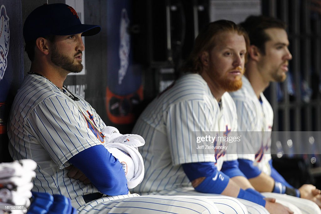 Jonathon Niese #49 of the New York Mets sits in the dugout in the first inning against the Los Angeles Dodgersat Citi Field in the Flushing neighborhood of the Queens borough of New York City.
