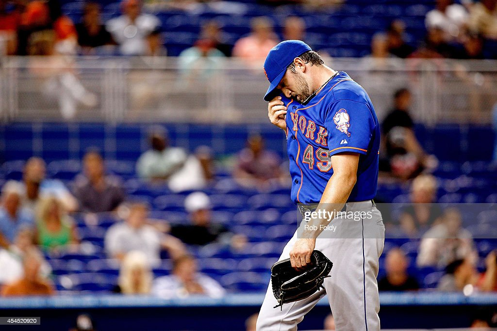 Jonathon Niese #49 of the New York Mets walks off the field after the second inning of the game against the Miami Marlins at Marlins Park on September 2, 2014 in Miami, Florida.