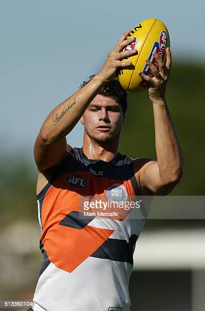 Jonathon Patton of the Giants marks the ball during a Greater Western Sydney Giants AFL training session at Drummoyne Oval on March 3 2016 in Sydney...