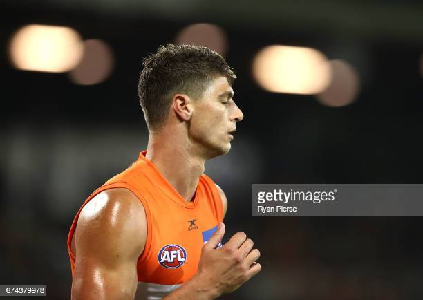 Jonathon Patton of the Giants reacts during the round six AFL match between the Greater Western Sydney Giants and the Western Bulldogs at UNSW...