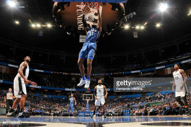 Jonathon Simmons of the Orlando Magic dunks the ball against the San Antonio Spurs on October 27 2017 at Amway Center in Orlando Florida NOTE TO USER...