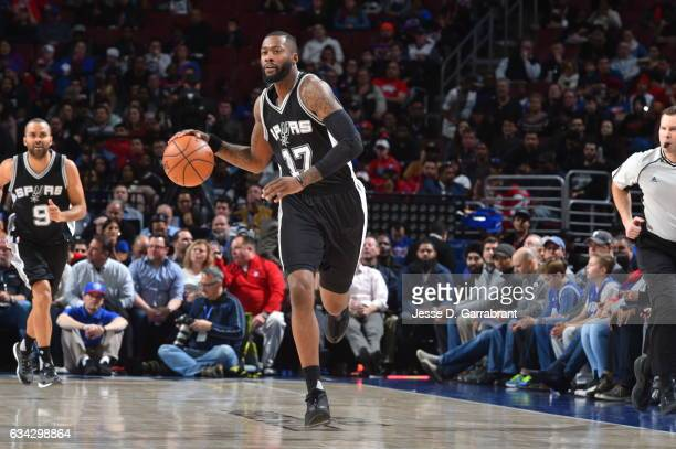 Jonathon Simmons of the San Antonio Spurs dribbles up court against the Philadelphia 76ers at Wells Fargo Center on February 8 2017 in Philadelphia...