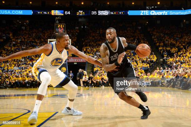 Jonathon Simmons of the San Antonio Spurs drives to the basket during the game against the Golden State Warriors during Game Two of the Western...