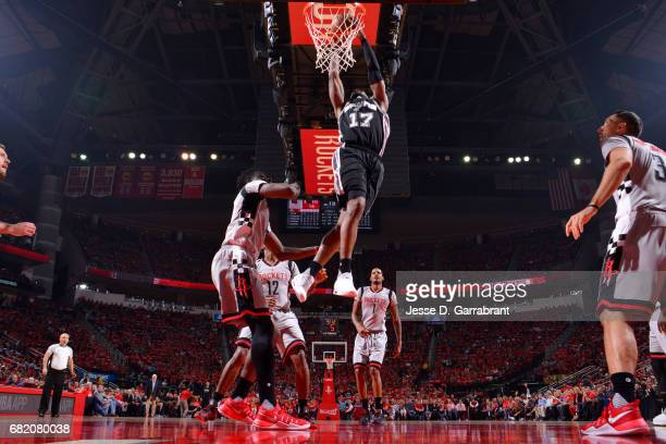 Jonathon Simmons of the San Antonio Spurs dunks the ball during the game against the Houston Rockets during Game Six of the Western Conference...
